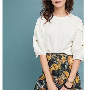 Anthropologie Current Air Cyrus Puff Sleeve Top M